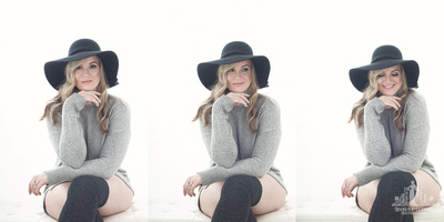 Triptych of a young woman in a floppy hat and long socks