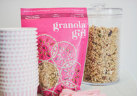 A Granola Girl packet with pink and white striped bowls and granola in a glass jar at a mother and daughter workshop by Vancouver workshop and retreat photographer Angela McConnell